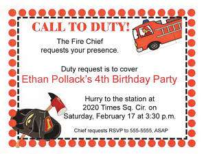 Fire Truck Fireman Chief Hat Birthday Party Invitation