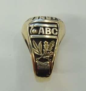 Mens 10kt Yellow Gold Ring American Bowling Congress 300 Game Diamond