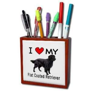 I Love My Flat Coated Retriever Pencil Holder Desk