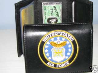 Mens Wallet Black Leather United States Air Force 95F11