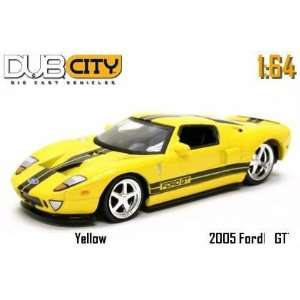Jada Dub City Yellow 2005 Ford GT with Black Stripes 1:64