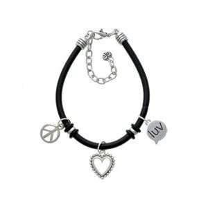 luv   Love   Text Chat   Black Peace Love Charm Bracelet