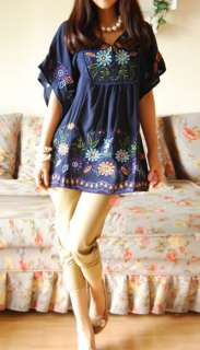 Vtg 70s Dark Blue Floral Embroidered MEXICAN BOHO dress MINI TOP