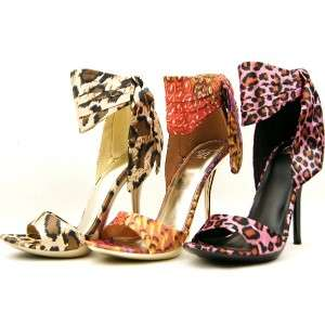 High Heel Ankle Wrap Womens Sandals, Shoes, Gold Cheetah Satin 9US