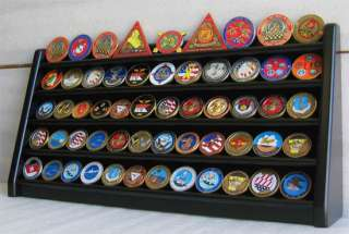 55 Challenge Coin 5 Row Chip Display Case Holder Rack Stand, Solid