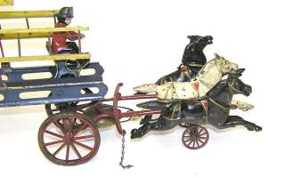 Antique Wilkins Toy 3 Horse Drawn Fire Ladder Wagon