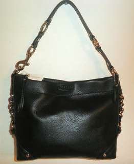 NEW COACH HANDBAG BLACK PEBBLED LEATHER CARLY HOBO SHOULDER BAG CHAIN