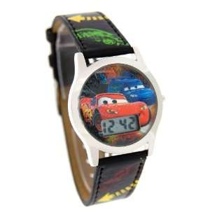 Disney Kids Cars Digital Black Leather Band Watch 41586A