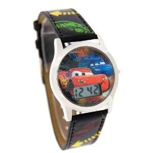 Disney Kids Cars Digital Black Leather Band Watch 41586A