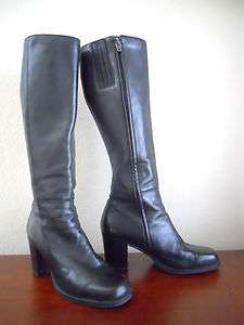 Beautiful Enzo Angiolini Black Leather Knee High Zip Up Boots Sz 8 WOW