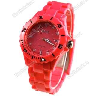 Colors Summer Plastic Wrist Watch Men Women Lady Wristwatch