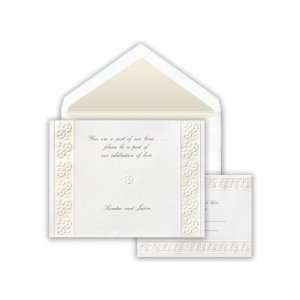 Embossed Flower Pearl Border Wedding Invitation Health