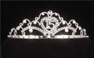 Quinceanera 15th Fifteenth Birthday Rhinestone Crystal Pearl Tiara