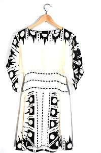 Anna Sui Size 2 Black & White Silk Dress