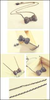 New Fashion Sweet Cute Crystal Rhinestone Bowknot Bowtie Necklace