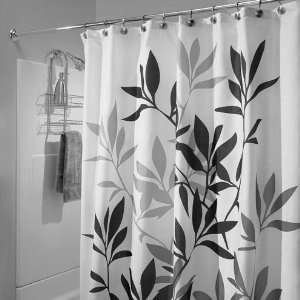 Long Black Leaves Fabric Shower Curtain By Interdesign