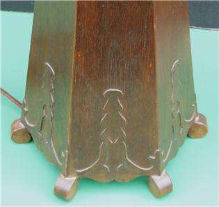 ANTIQUE Mission Oak Table Lamp Base Arts & Crafts Style 6 Sided 3
