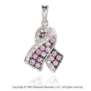 Diamond Sapphire Breast Cancer Ribbon Bracelet Charm: Jewelry