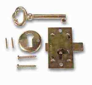 1B BRASS PLATED STEEL Flush Mount Cabinet Door Lock & Skeleton Key
