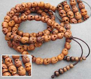 Wood Carved Skull Beads Buddhist Prayer Necklace Mala