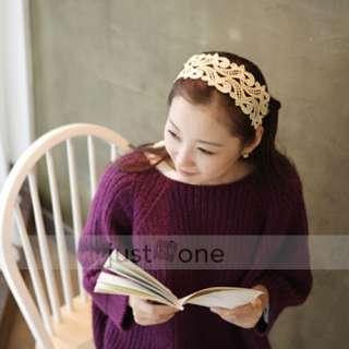 Elegant Women Ladies Girl Chic Lace Hair Decor DIY Bow Head Scarf Wide