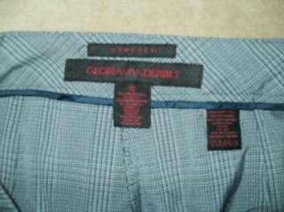 GLORIA VANDERBILT 10 blue plaid MID rise flat stretch wide leg pants