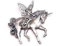 Fairy Riding Unicorn Pewter Pin JJ Jonette Faerie