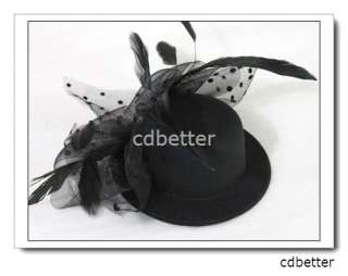 Veil + Bling Rhinestone Manual Flower Style Party Black Mini Clip Hats