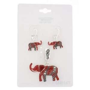 Fashion Jewelry ~ Red Elephant Pendant and Earrings Set