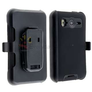BLACK DOUBLE LAYER HOLSTER SKIN CASE COVER+LCD PROTECTOR FOR HTC