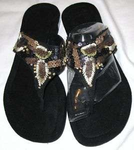Black Brown Tan Sequin Flat Thong Sandals Size 10 NEW