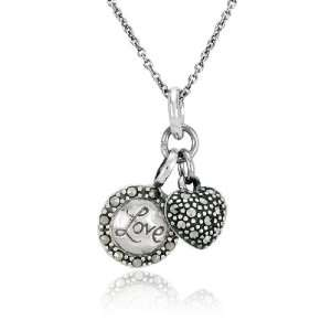 Silver Marcasite Love Disc and Heart Charm Pendant, 18 Jewelry