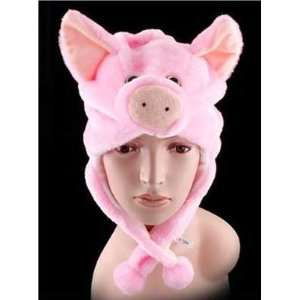 Animal Pink Pig Cute Fluffy Plush Hat 1693 Toys & Games