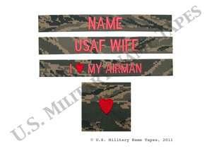Air Force USAF Wife ABU Name Tape Set
