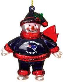 New England Patriots Crystal Snowman Christmas Ornament