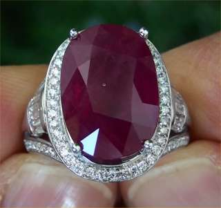 Natural Red Ruby & Diamond Vintage Ring 14K White Gold