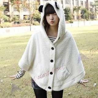 Lovely Girls Cute Sweatercoat Plush Panda Ears Sweet Cape Cloak Coat