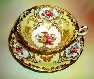 Royal Chelsea Gold & Painted Floral Yellow Tea Cup and Saucer Set