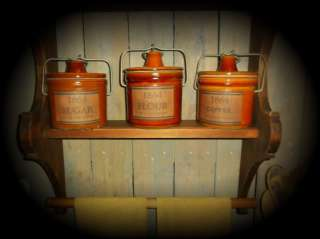 Primitive Gathering Open Cupboard~Stoneware Crocks~Pie Tin~Candles