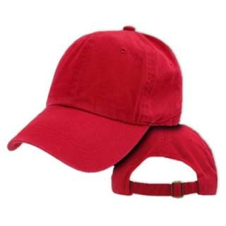 RED COTTON PLAIN SOFT UNSTRUCTURED BASEBALL CAP HAT