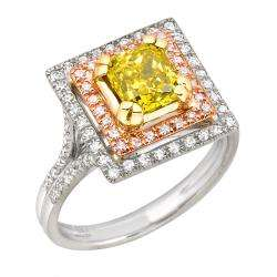 14k Two tone Gold 1 3/4ct TDW Yellow and White Diamond Ring (G H, SI2