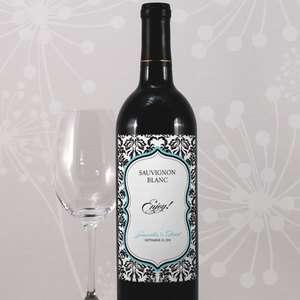 24 Love Bird Damask Wine Bottle Wedding Favor Labels