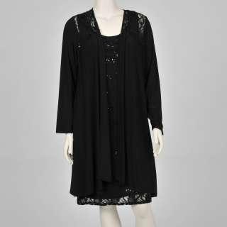 Onyx Nite Womens Plus size 2 piece Black Lace Dress Set