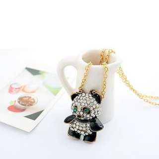 Rhinestone Fashion Panda Pendant Chain Necklace Retro Xmas Gift
