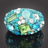 18K white GOLD GP full Swarovski crystal ring 1579
