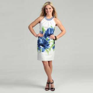 Sandra Darren Womens Cotton Sateen Floral Dress
