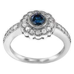Sterling Silver 1ct TDW Blue/ White Diamond Vintage Ring (I1 I2