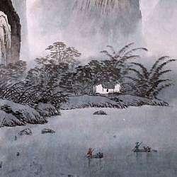Lake Cottage Wall Art Scroll Painting (China)