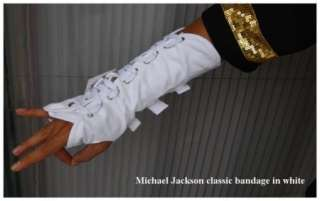 Michael Jackson MJ bandage bracer half finger gloves black white or