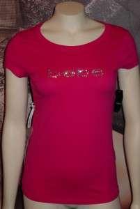 BEBE rhinestone logo tee shirt top *AZALEA PINK* xs*s*m*l*xl*